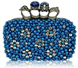Ladies Blue Teal Beaded Skull Knuckle Rings Clutch Evening Bag - KCMODE