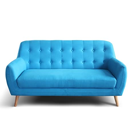 Tuoni Duca Divano a Due Posti, Legno Multistrato/Poliuretano/Tessuto, Blu/Rovere Naturale, 158x78x84 cm