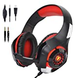 Stereo Gaming Headset for PS4 Xbox One, Beexcellent 3.5mm Bass Over Ear PC Gaming Headphones with Mic/Surround Sound/Noise Isolation/Volume Control/LED Light for Laptop/Mac/iPad/Smartphone/Computer (Color: Red)