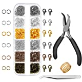 Anezus 1020Pcs Jump Rings with Jewelry Pliers for Jewelry Making Supplies Jewelry Repair and Beading (Color: Multicolors)
