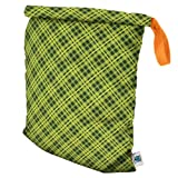 Planet Wise Roll Down Wet Diaper Bag, Lime Plaid, Large