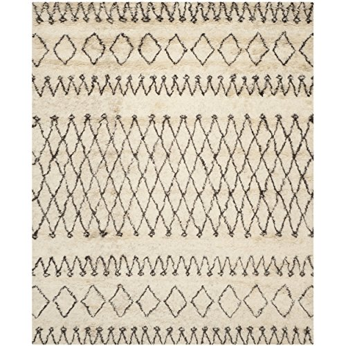Safavieh Casablanca Collection CSB851A Handmade Ivory and Natural Wool Area Rug, 9 feet by 12 feet (9' x 12')