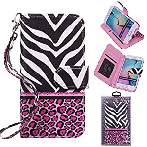 Samsung Galaxy S6 Edge Wallet Case, True Color® HD Printed Zebra & Lace on Pink Leopard Wristlet Purse Clutch +Removable Wrist Strap Card Slots & I.D Window Magnetic Closure Media Stand