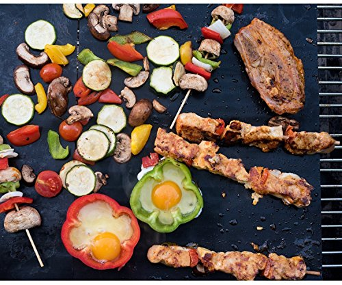 """Grill Mat - Set of 2 16""""x13"""" - 150% Thicker Than Yoshi, Miracle, Others - 100% Guaranteed, Perfect Grill Marks Every Time, Rapid Clean, FDA Approved"""