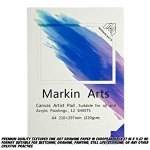 Markin Arts Sketch Book 149lbs/220gsm A4 Professional Heavy-Weight Textured Acid-Free Neutral PH Watercolor Oil Pencil Ink Painting Coloring Drawing Crafting Paper Artist Canvas Pad 12 Sheets 2-Pack (Color: White, Tamaño: A4)