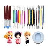 AK ART KITCHENWARE Clay Sculpture Tools Kit with Caking Decorating Doll Making Silicone Mold 5 Types Clay Modeling Sculpting Set for Craving and Shaping (Color: White,Red,Black)