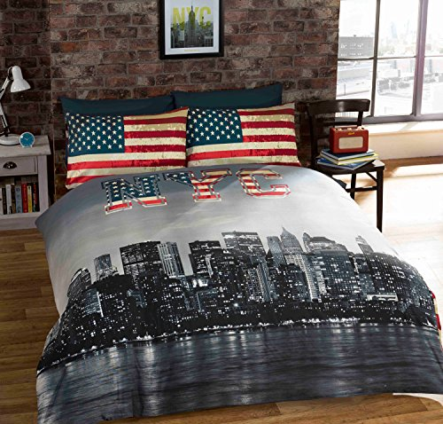 Full New York City American Reversible Cotton Blend Blue Comforter Duvet Cover front-729007