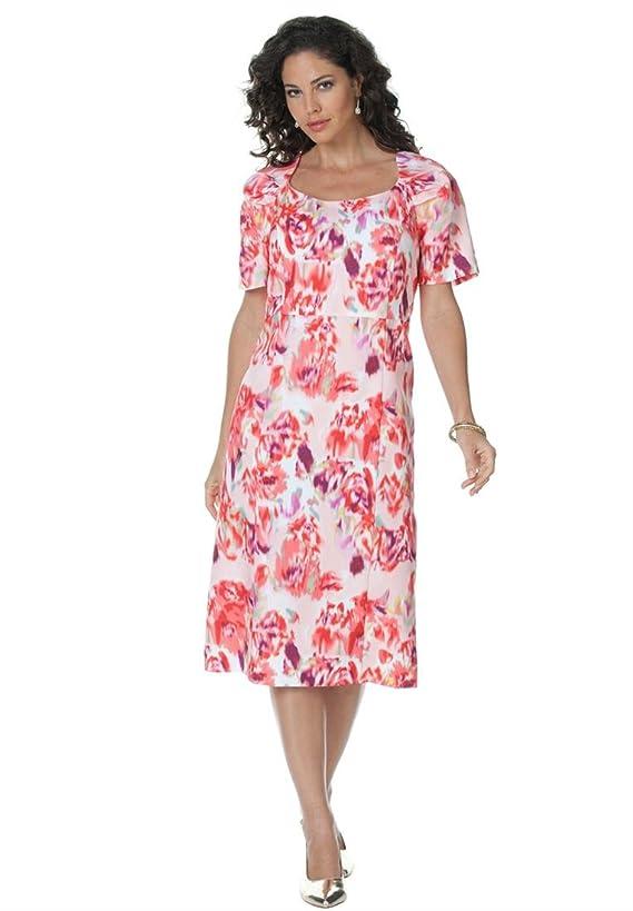 Plus Size Cap-Sleeve Color-Mix Sheath Dress
