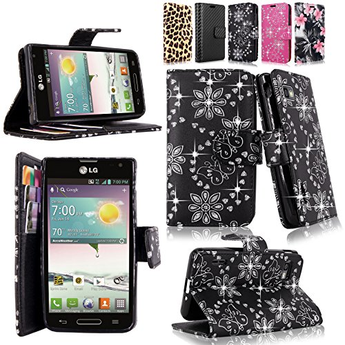 Cellularvilla Wallet Case for LG Optimus F3 LS720 MS659 Bling Glitter Pu Leather Wallet Card Flip Open Pocket Case Cover Pouch (Black Glitter) (Lg F3 Wallet Case compare prices)