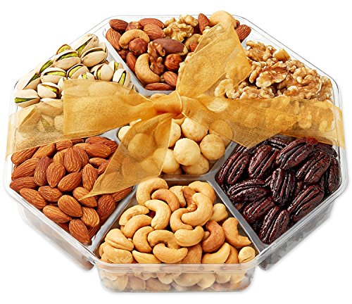 Hula Delights Deluxe Roasted Nuts Gift Basket 7-Section ★ Octagon Shaped Gift Tray ★ Delicious Roasted Salted Macadamia Nuts, Almonds, Pistachios, Cashews, Mixed Nuts, Raw Walnuts, and Honey Glazed Pecans ★ OK Kosher Certified ★ Holiday Gift Baskets for Men and Women of All Ages ★ Fantastic for Any Occasion ★ 100% Satisfaction Guaranteed image