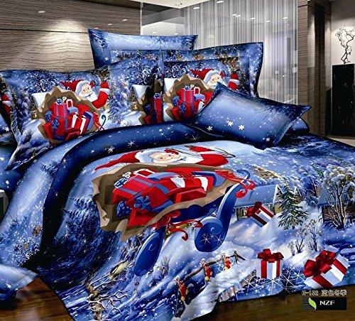 FADFAY Christmas Bedding Set Christmas Comforter Set Santa Claus,Snowflake Bedding,Queen