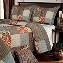 Contemporary Neutral Bedding Reversible Cotton Quilt Set Full/Queen Size