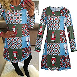 Women Xmas Swing Dress Long Sleeve Flared Party Dresses (L Multicolor)