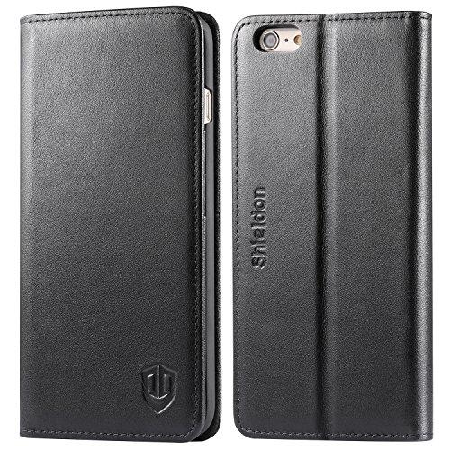 iPhone6s ケース / iPhone6 ケース 手帳型 SHIELDON 本革 カバー カードポケット スタンド機能 マグネット式 アイフォン6s / 6 用 財布型 カバー ブラック