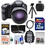 Kodak PixPro AZ651 Astro Zoom Wi-Fi Digital Camera with 32GB Card + Backpack + Flex Tripod + 3 Filters + Kit