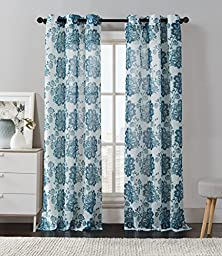 2 Pack: Floral Chic Luxurious Curtain Panels by GoodGram® - Assorted Colors (Teal)