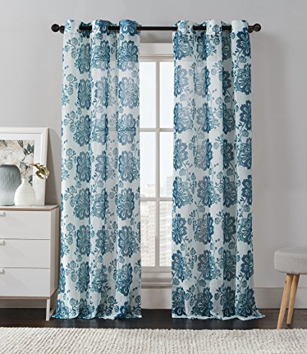 2 Pack: Floral Chic Luxurious Curtain Panels (Teal)