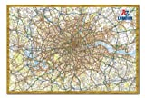 Iposters A - Z London And M25 Map Pin Board Framed In Oak Wood Includes Pins - 96.5 X 66 Cms (approx 38 X 26 Inches)