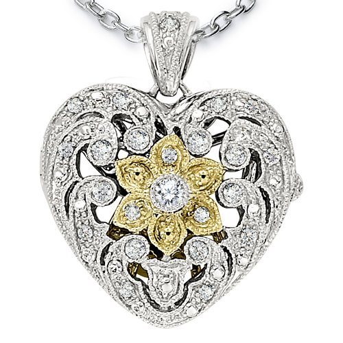 Ze Sterling Silver Diamond Antiqued Heart Locket with 18