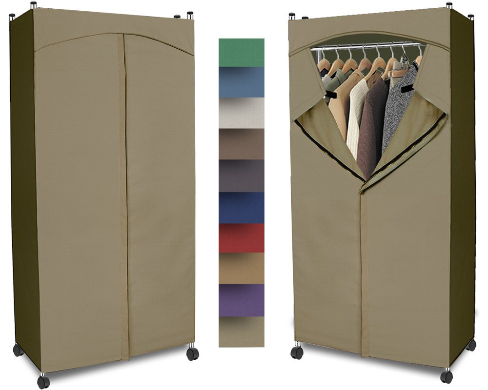 Portable Wardrobe Closet w/ Premium Cotton Canvas/Duck Cover (72-75Hx36Wx18D) Khaki