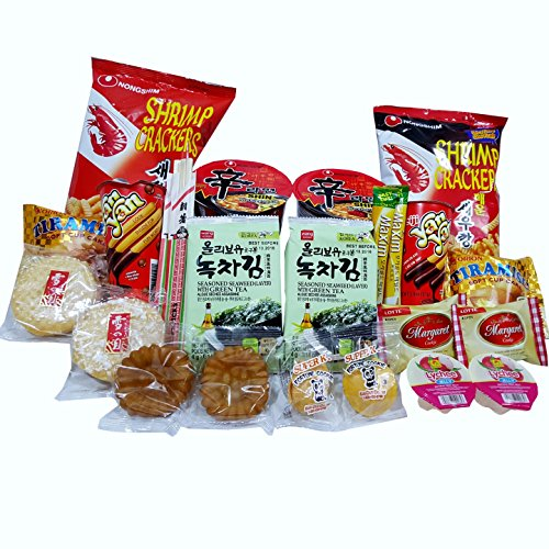Nongshim Shin Ramen Spicy Roasted Noodle Soup, Korean Snack Box Care Packages for College Dorm, Military, Work &Party (Roasted Seaweed Kimchi compare prices)