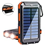 Solar Charger,Yelomin 20000mAh Portable Outdoor Waterproof Mobile Power Bank,Camping External Backup Battery Pack Dual USB 5V 1A/2A Output 2 Led Light Flashlight with Compass for Tablet iPhone Android (Color: Orange)