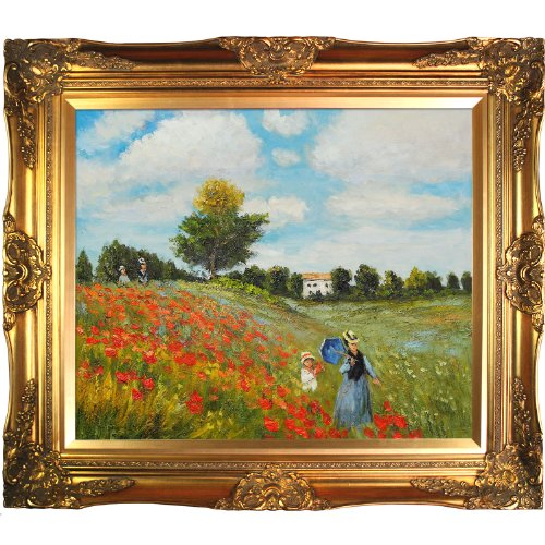 Hand painted reproduction of claude monet poppy field in for Framed reproduction oil paintings