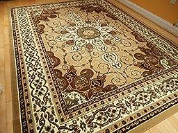 Persian Style Rug 8x11 Beige Brown Rug 8x10 Area Rug Living Room Carpet 8\'x11\' Rugs Floor Rugs Gold Black Green Brown Rug (Large 8x11)