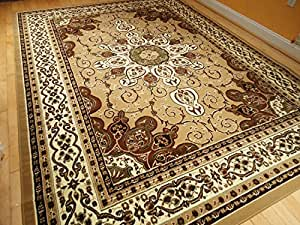 Persian style rug 8x11 beige brown rug 8x10 - Gold rugs for living room ...