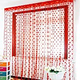 Pindia 6 Feet Set Of 2 Red String Net Heart Design Door Window Curtain