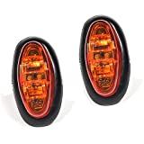 WildAuto 2Pcs Led Side Marker Warning Lights for Truck,Universal 12 24 volt clearance lights(Amber) (Color: Amber 2PCS)