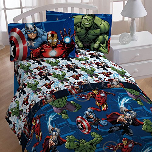 4pc Marvel Avengers Twin Bedding Set Heroic Age Comforter and Sheet Set (Captain America In Bedding compare prices)