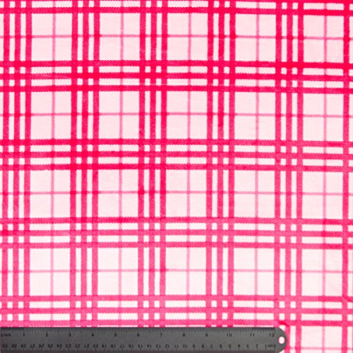 Pink And Fushcia Plaid Modern Print On Plush Cuddle Minky Fabric - 10 Yards front-616721