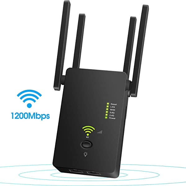 Super Boost WiFi,Up to 1200Mbps |WiFi Repeater, WiFi Range Extender |WiFi Signal Booster, Access Point | Easy Set-Up |2.4 & 5.8GHz Dual Band WiFi Extender|Compact Designed Internet Booster