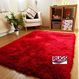 NEW THICK SILKY SOFT HAND TUFTED SHAGGY RUG HIGH QUALITY 6CM PILE (150x210CM) (RED)