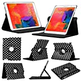 Stuff4 Polka Dot Designed Case with 360 Degree Rotating Swivel Action and Screen Protector/Stylus Touch Pen for 8.4 inch Samsung Galaxy Tab Pro T320/T321/T325 - Black/White