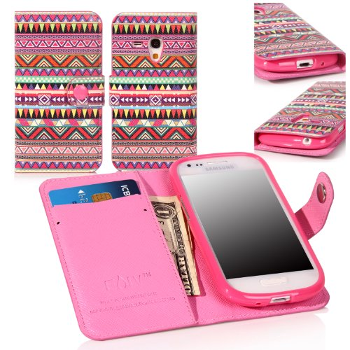 E Lv Deluxe High Quality Pu Leather Wallet Flip Case Cover For Samsung Galaxy S3 Mini I8190 (Colorful Tribal)