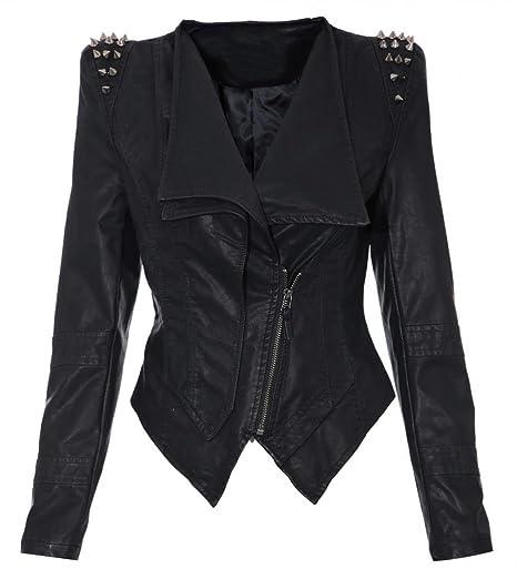 Women's Studs Spike Shoulder Pads Lapel Draped PU Faux Leather Black Biker Coat Blazer
