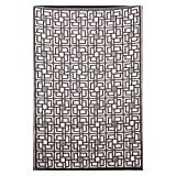 Outdoor Rug Patio Mat - (4ft x 6ft) - Omega, Reversible Design in Brown and White as Outdoor Area Rug- by b.b.begonia