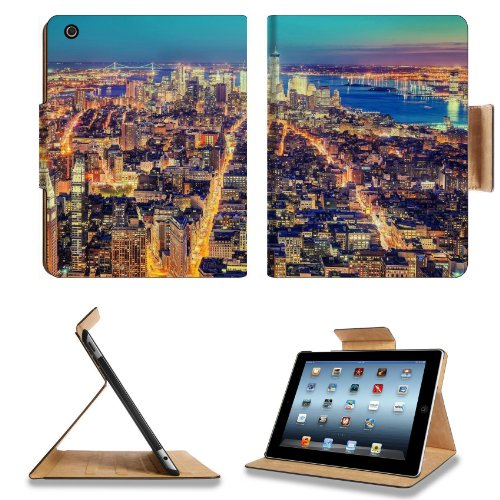 New York Metropolis Night Lights Top View Hdr Apple Ipad 2Nd 3Rd 4Th Flip Case Stand Smart Magnetic Cover Open Ports Customized Made To Order Support Ready Premium Deluxe Pu Leather 9 7/8 Inch (250Mm) X 7 7/8 Inch (200Mm) X 5/8 Inch (17Mm) Liil Ipad Profe front-344120
