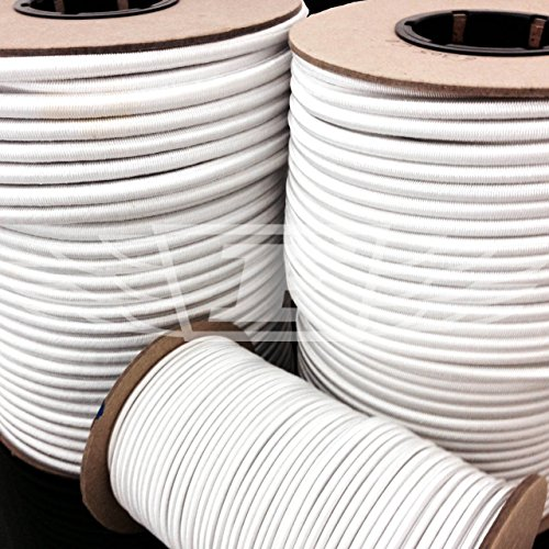 6mm x 10 METERS, WHITE STRONG ELASTIC BUNGEE ROPE SHOCK CORD TIE DOWN FREE POST