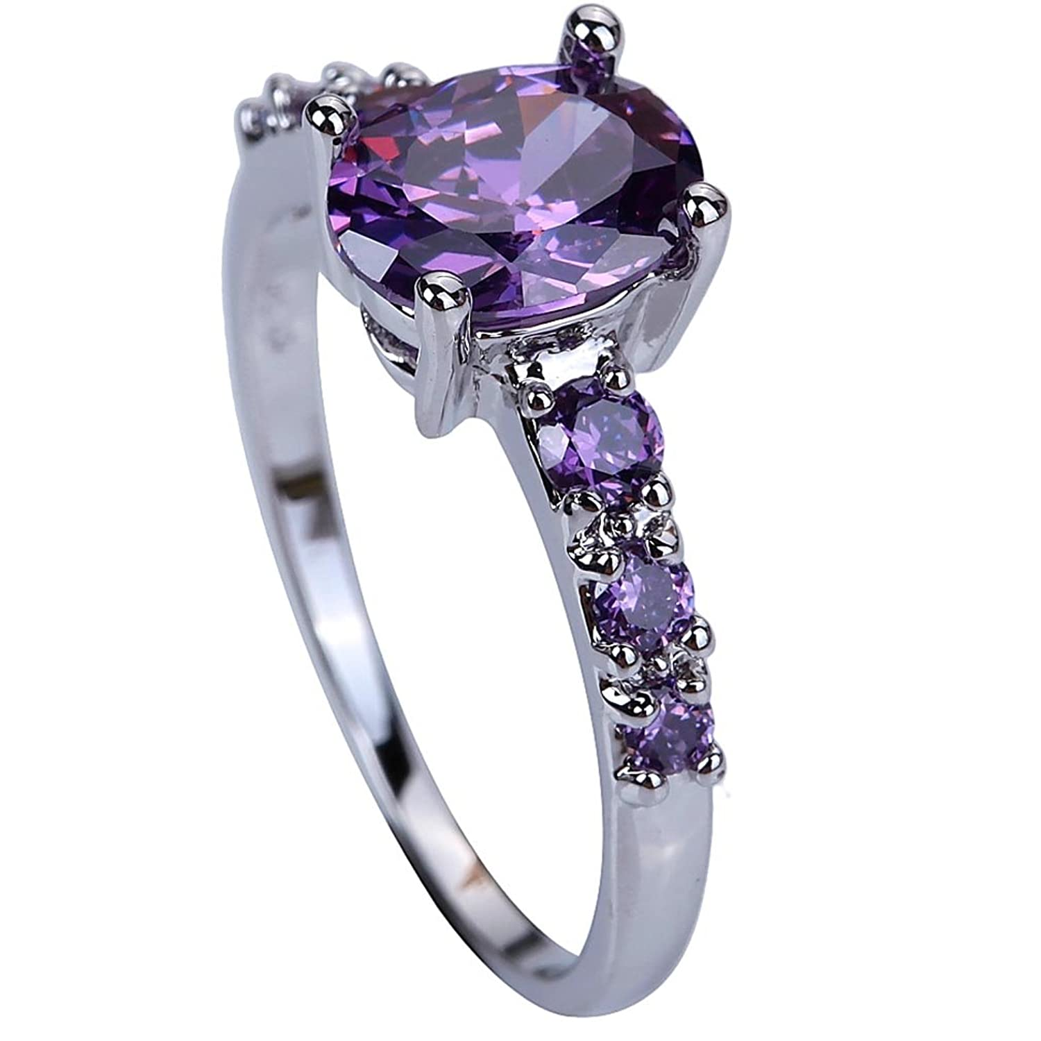 YAZILIND Wedding Bridal Rhinestone Purple Engagement Band Ring For Women