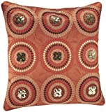 Shahenaz Home Shop Tusti Sequence 9 Circles Poly Dupion Cushion Cover - Orange