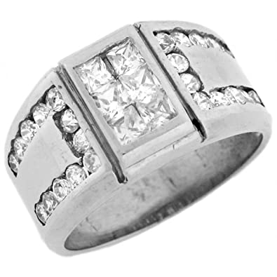 14ct White Gold Rectangle Mens Ring With Unique Side Accent Design