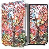 kwmobile Housse élégante en cuir synthétique pour Pocketbook Touch Lux 3 / Touch Lux 2 en Motif arbre rouge vert à fermeture aimantée pratique
