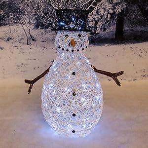 Tri flora 70cm outdoor pvc rattan snowman figure for Outside christmas figures