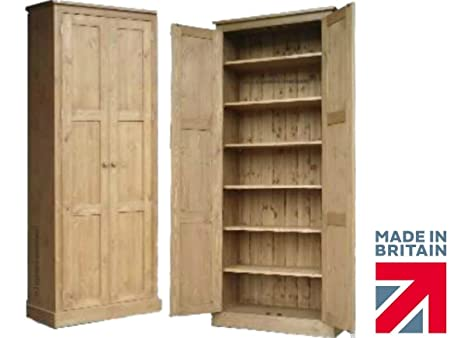 "Solid Pine Cupboard, 6ft 6"" Tall 2 Door Multi-Purpose Pantry, Larder, School, Shoe, Linen Hallway or Kitchen Storage Cabinet. Choice of Colours. No flat packs, No assembly (CUP103)"