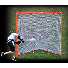 EZGoal Lacrosse Folding Goal with Tilting Rebounder, 6 x 6-Feet, Orange by EZGoal