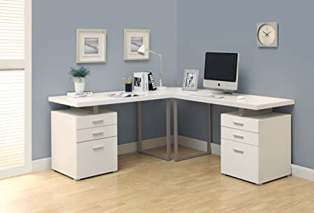 WHITE 3PC HOLLOW-CORE L-SHAPED DESK (2 desks + 1 corner wedge) (SIZE: 72L X 72W X 30H)