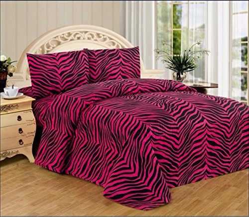 4 Piece Zebra Animal Print Super Soft Executive Collection 1500 Series Bed Sheet Set Queen Size (Pink Zebra)